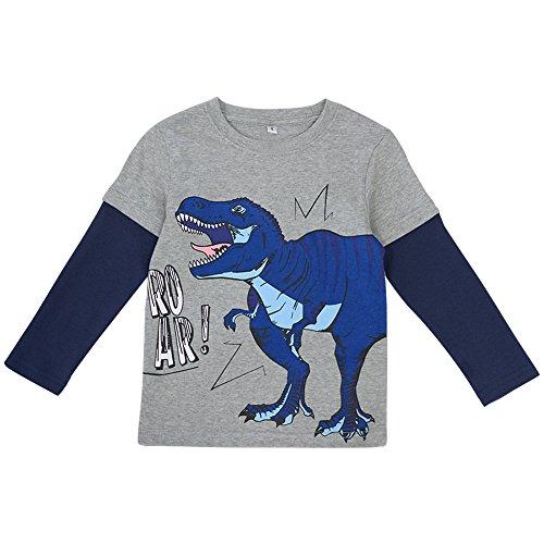 (Enfants Chéris Little Kids Cotton Crewneck Tee Shirt Toddler Boys Long Sleeve Dinosaur Pattern Tops, 4T)
