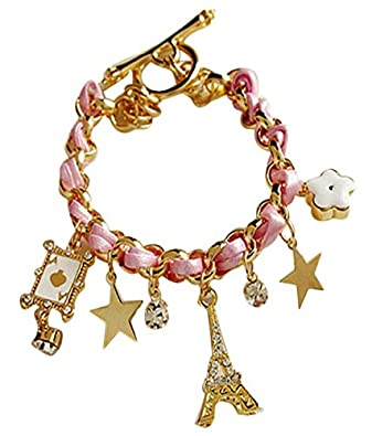Shining Diva Fashion Pink Multiple Charm Bracelets for Girls and Women Women's Bracelets at amazon