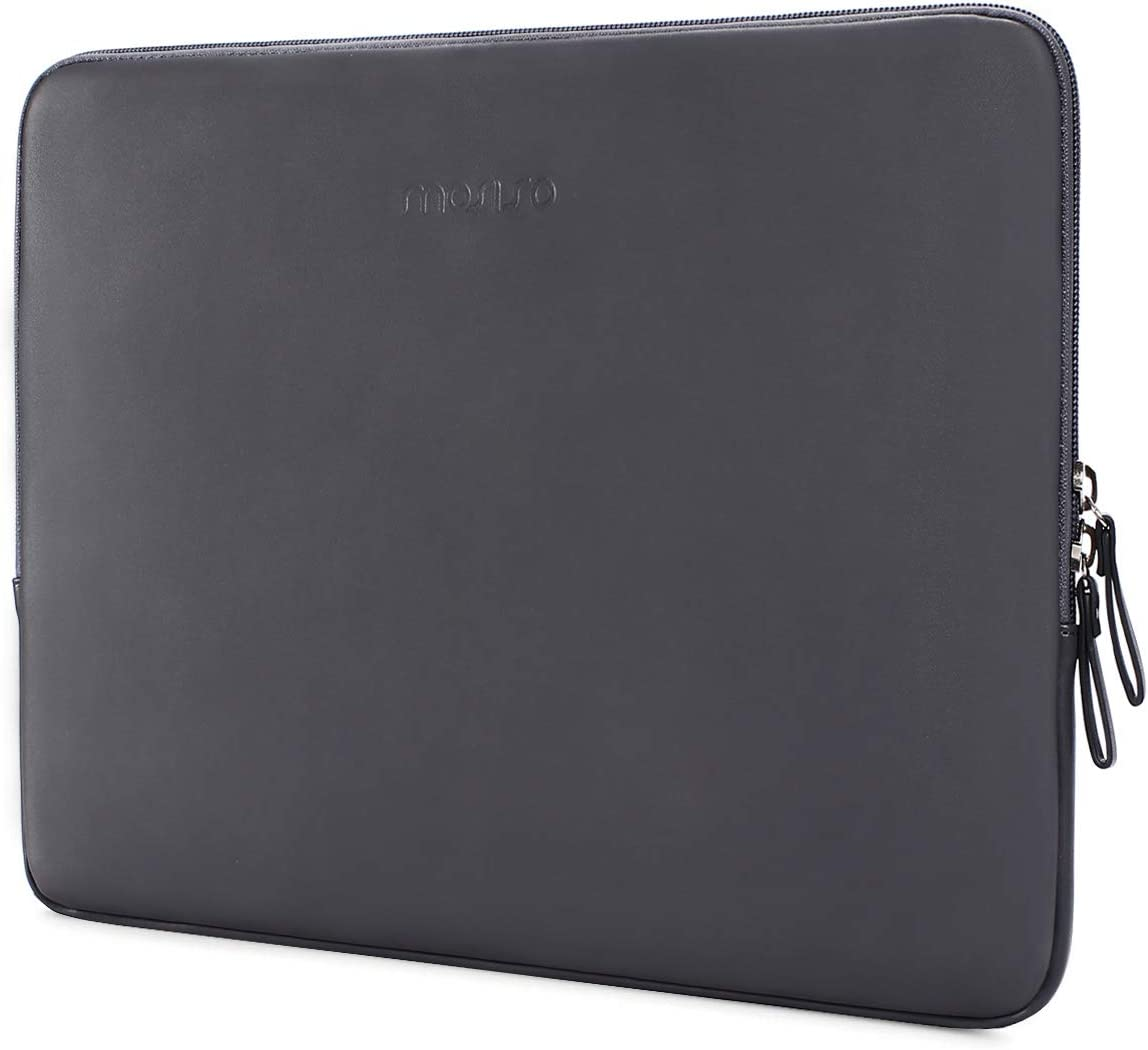 MOSISO Laptop Sleeve Compatible with 13-13.3 Inch MacBook Air/MacBook Pro Retina/2019 2018 Surface Laptop 3/2/Surface Book 2, PU Leather Super Padded Bag Waterproof Protective Case, Space Gray