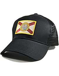 Men's Florida Flag Patch All Black Trucker Hat