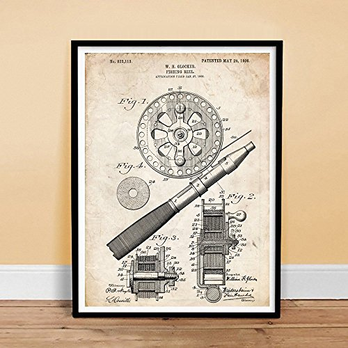 Fly Vintage Poster - Steves Poster Store OLD FISHING REEL 1906 US PATENT ART POSTER PRINT VINTAGE FLY FISH ROD GLOCKER GIFT UNFRAMED (18