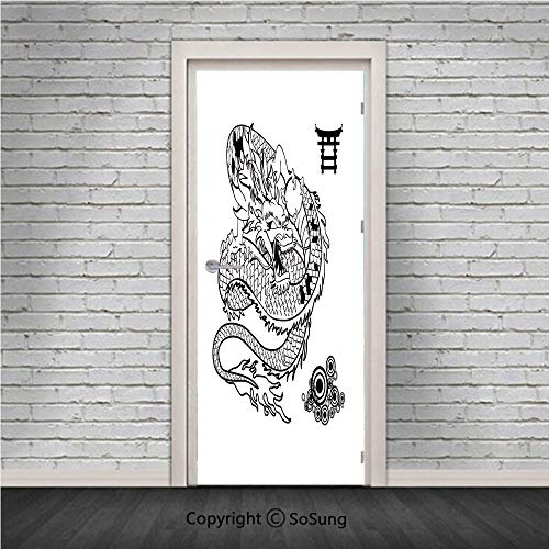 Japanese Dragon Door Wall Mural Wallpaper Stickers,Tattoo Art Style Mythological Dragon Figure Monochrome Reptile Design,Vinyl Removable 3D Decals 30.4x78.7/2 Pieces set,for Home Decor Black White (Tattoo Wall Paper)