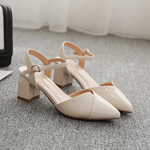 Jqdyl High Heels Schuhe Sandalen Fruuml;hling Strap Spitze Tasche Zuruuml;ck Air Heel Rough  35|Beige