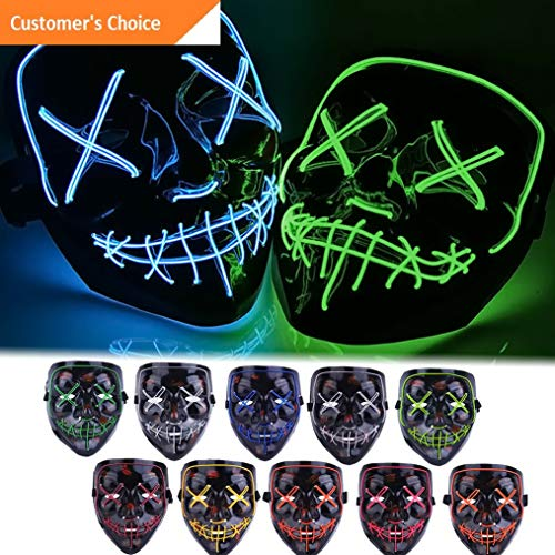 Kaputar Halloween Cosplay Led Costume Mask Wire Light Up The Purge Movie Scary Mask US | Model BCKPCK - 54 | -