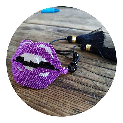 Kisses Magnetic Bracelet Jewelry - Bracelets Tassel Handmade Woven Jewelry Sexy Purple Kiss Women Gifts,E