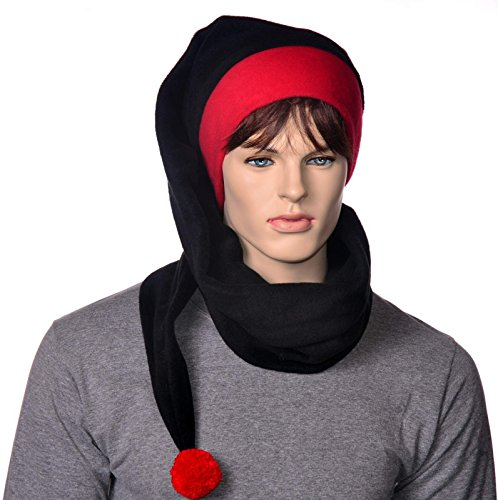Extra Long Wrap Around Stocking Cap Goth Black and Red with Pompom
