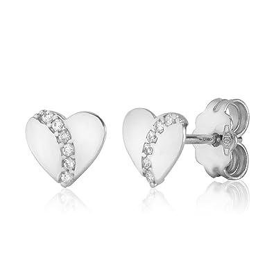 418d2466c UNICORNJ Childrens 14k White Gold Cubic Zirconia Heart Stud Post Earrings  Italy