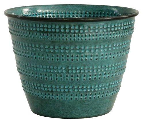 Round Metallic Planter - Ironstone base coated, hand-brushed texture and glaze coated - 6
