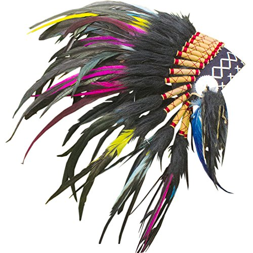 KIDS SIZE Feather Headdress - Adjustable - Indian Style - Electric Rooster