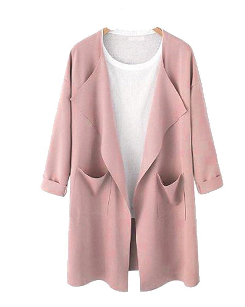 Damen Beiläufig Steppmantel Cardigan Mantel Übergröße Jacke Windbreaker