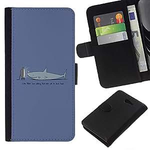 NEECELL GIFT forCITY // Billetera de cuero Caso Cubierta de protección Carcasa / Leather Wallet Case for Sony Xperia M2 // TV Divertido Tiburón