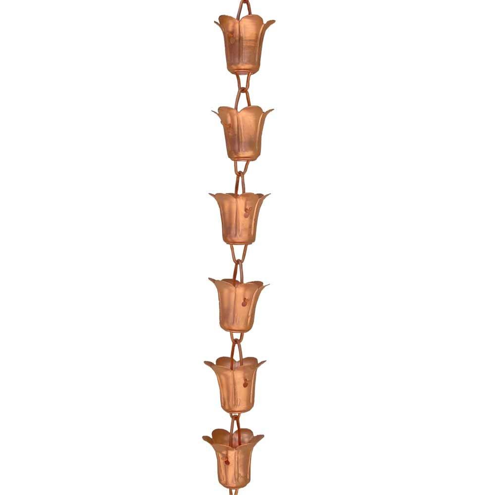 Monarch Pure Copper Tulip Rain Chain Extension, 3 Feet Length