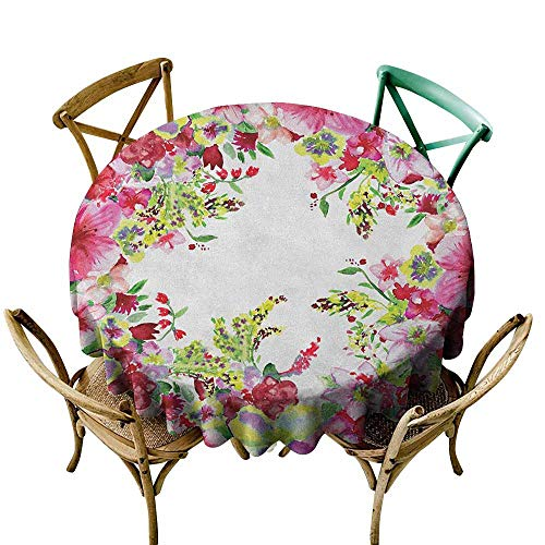Sunnyhome Washable Round Tablecloth Watercolor Flower Fresh Curly Willow and Dahlia Floral Summer Buds Pollen Hand Drawn Print Pink Green for Events Party Restaurant Dining Table Cover 35 INCH
