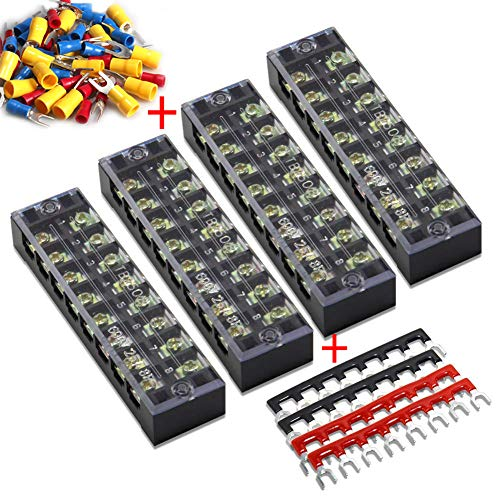 (56pcs) 4 Sets Terminal Block - 4pcs 8 Positions 600V 25A Dual Row Screw Terminals Strip with Cover+4pcs Pre-Insulated Barrier Jumper Strips Black & Red+48pcs Insulated Fork Wire Connector by MILAPEAK