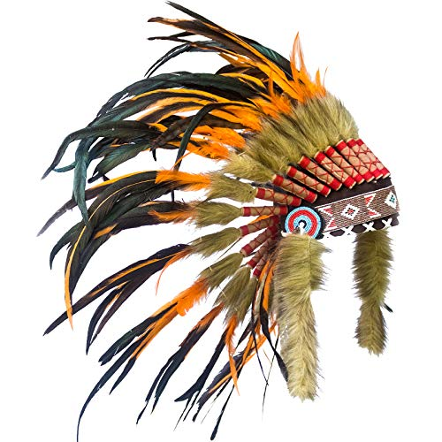 KIDS SIZE Feather Headdress - Adjustable - Native American Inspired - Orange Rooster