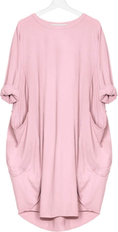 Vestido Holgado Casual para Mujer Bolsillos con Cuello Redondo Vestidos A Media Pierna De Color Sólido