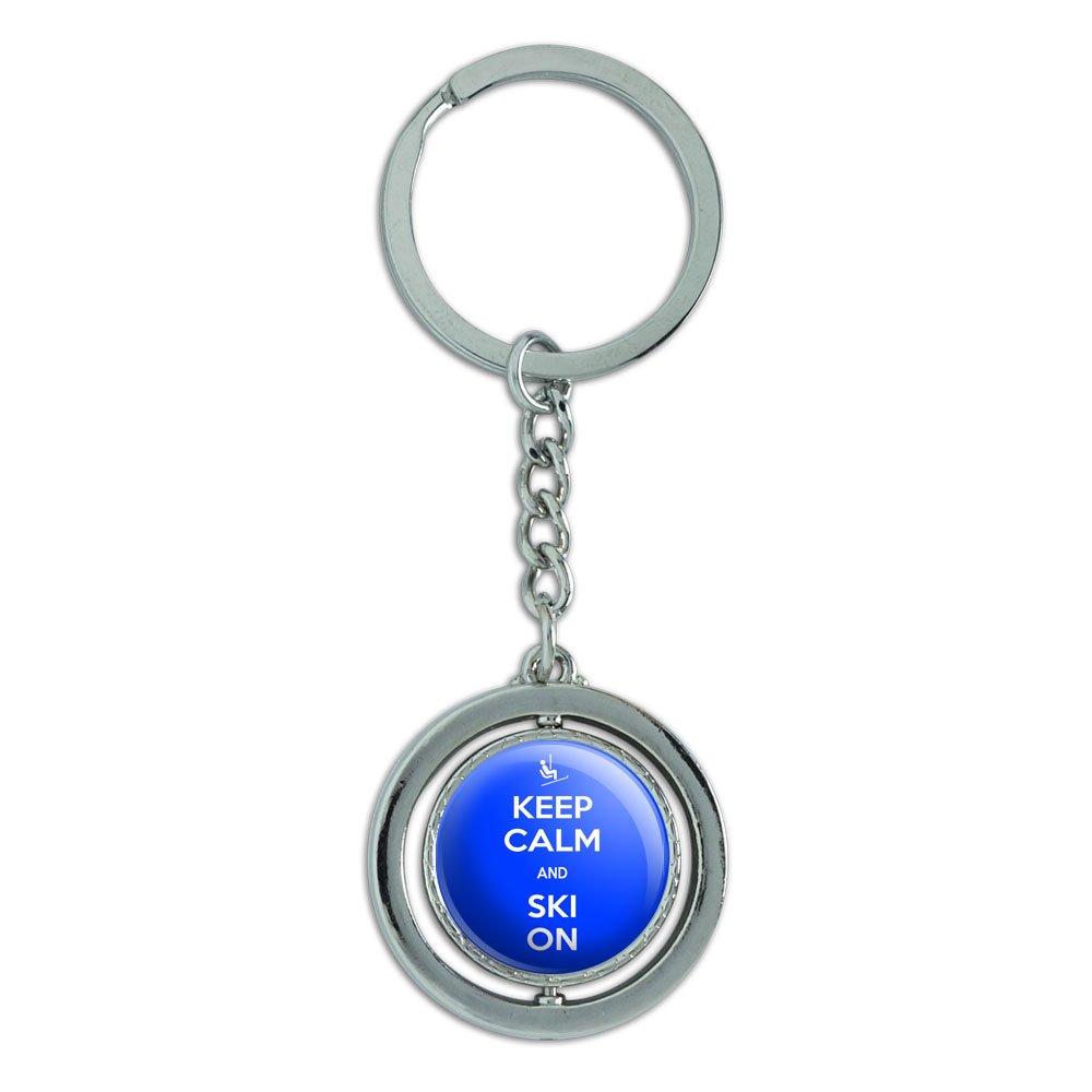 Keep Calm And Ski über drehbare runde Metall Schlüsselanhänger Schlüsselring