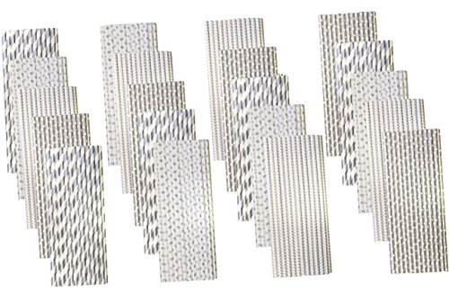 Bulk Pack Silver Paper Straws - Stripe Chevron Polka Dot - 7.75 Inches - 500 Pack - Outside the Box Papers Brand
