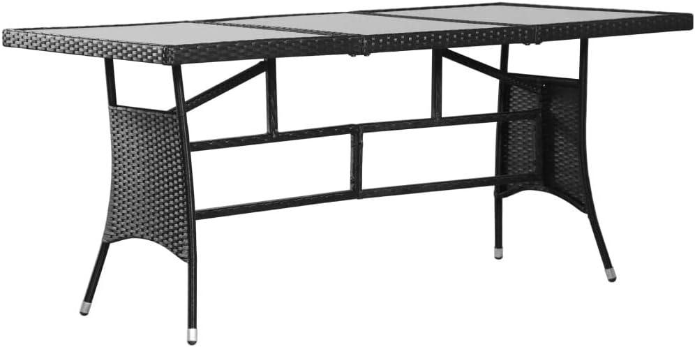 mewmewcat Garden Table Glass Tabletop Poly Rattan Steel Frame 170x80x74 cm Black