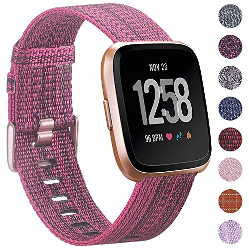 EZCO Compatible with Fitbit Versa Bands, Woven Fabric Breathable Watch Strap Quick Release Replacement Wristband Accessories Compatible Versa Smart Watch Women Man (Rose Red) (Fabric Strap Band)