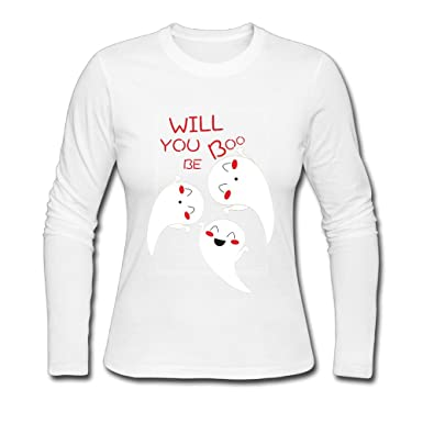 43a63222b Image Unavailable. Image not available for. Color: HSs4AD Cute Will You Be My  Boo Ghost Halloween New Style Women's Long Sleeve T-
