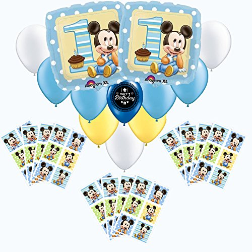 Mickey Mouse First Birthday Sticker Favor and Party Balloon Pack -
