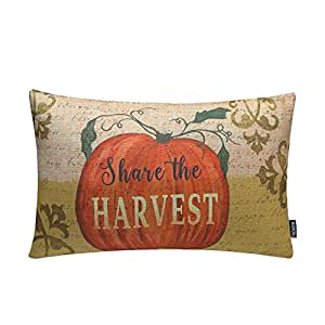 "TRENDIN 20"" X 12"" Vintage Happy Fall Pumpkin Share the Harvest Cotton Linen Throw Waist Pillow Case Cushion Cover (PL040TR)"