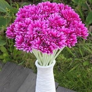10Pcs Sunbeam Artificial Flower Mum Gerber Daisy Bridal Bouquet Silk Wedding Party Flowers 35