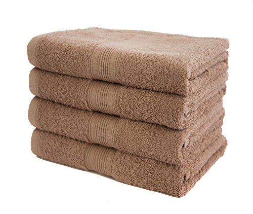 4er Pack Frottier Handtücher Set 50x100cm - Qualität 500 g/m² - 100% Baumwolle in 19 modernen Farben (Sand)