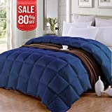 Queen/Full Soft Down Alternative Quilted Comforter Summer Cooling Duvet Insert with Corner Ties, Fluffy Lightweight for All Season, Hypoallergenic Reversible Hotel Collection,Navy,88 by 88 inch