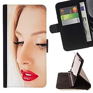 - RED LIPS FACE EYES WOMAN BLONDE PORTRAIT - - Prima caja de la PU billetera de cuero con ranuras para tarjetas, efectivo desmontable correa para l Funny HouseFOR Apple Iphone 5C