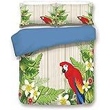 Duvet Cover Set,BLUE BACK,Parrots Decor,Tropic Flowers and African Parrot in Summer Garden Wooden Wall Ferns Decorative Art,Cream Green Red,Decorative 3 Pcs Bedding Set by 2 Pillow Shams,Queen Size