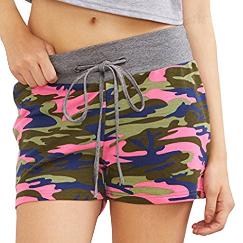 Court Plus Shorts La t Yying Cordon Shorts avec 3 Taille Casual Femme pour Camouflage Streetwear Mode Taille Couleur Pantalon Elastique Moyenne de Pantalon Taille vHATqwHRF