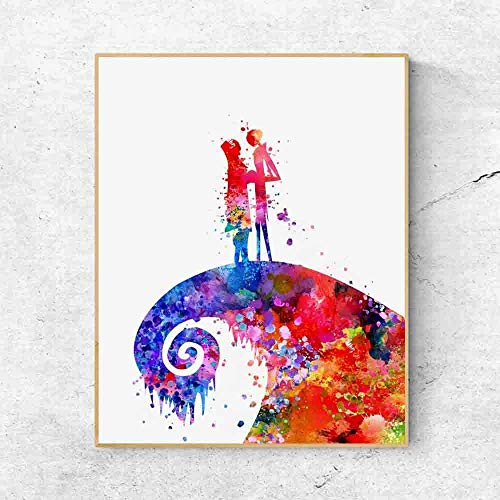 Jack Skellington and Sally The Nightmare Before Christmas Watercolor Halloween Wall Artwork Wedding Gift Tim Burton Birthday gift ideas 8x10 Inches No -