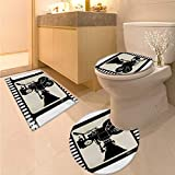 Anhuthree Movie Theater bathmat Toilet mat Set Movie Frame Pattern with Silhouette of Movie Reels in a Projector 3 Piece Large Contour Mat Set Dark Taupe Beige Black