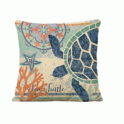 Sea turtle pattern Cotton Linen Throw Pillowcover 18*18