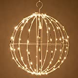 16'' LED Fairy Light Ball – Indoor/Outdoor Fairy Lights Decoration with Fairy Mini Lights, Sphere Light Fold Flat Metal Frame (Warm White Lights/White Frame)