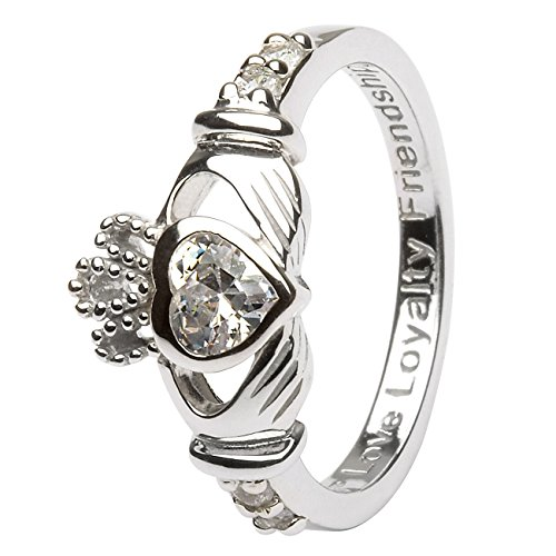Hallmarked Sterling Silver Claddagh Birthstone Ring April (8)