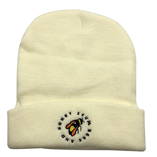 CZZYTPKK Golf Wang Warm Winter Hat Knit Beanie Skull Cap Bee Embroidered Soft Headwear White