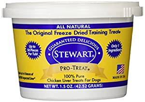 Stewart Pro-Treat chicken liver for dogs is an all natural dog treat made with 100% freeze dried liver. With just one single ingredient, Pro-Treat is a gluten-free dog treat with all of the nutritional value of chicken liver. Considered a high value ...