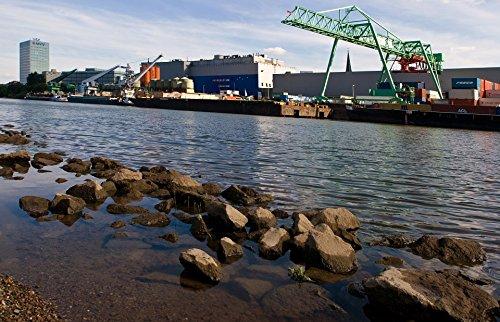 Home Comforts Framed Art for Your Wall Rhine River Rhine Mannheim Industry Old Rhine 10x13 Frame (Framed River Rhine)