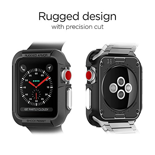 Spigen Rugged Armor Apple Watch Case 38mm with Resilient Shock Absorption for 38mm Apple Watch Series 3 / Series 2/1 / Original (2015) / Nike+ Sport Edition - Black by Spigen (Image #7)