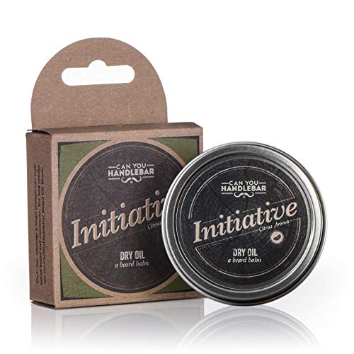 Initiative - Citrus Bergamot Lavender Aroma - Premium Beard Balm for Men | Dry Oil Beard Conditioner | 2 Oz Stainless Steel - Mens Handlebar