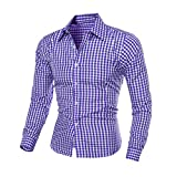 PHOTNO Men's Autumn And Winter Long-sleeved Plaid Self-Cultivation Shirt Top Blouse (XXL, Blue)