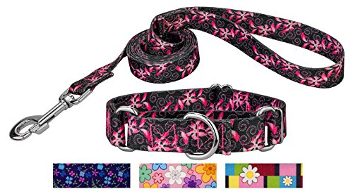 Dog Swirls Designer Collar (Country Brook Petz | Pink Honeysuckle Breeze Martingale Dog Collar & Leash - Large)
