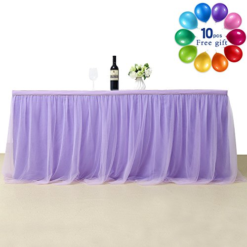 - B-COOL Cake Dessert Light Purple Table Skirt 6 Yards Accordion Pleat Tutu Table Skirts Handmade Improved Princess Decoration(L18(ft) H 30in)