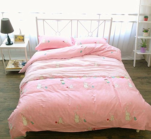 Amazon.com: LELVA Pink Cats Print Duvet Cover Set Girls Kid Bedding Cute  Teen Bedding Plaid Bedding Cotton Reversible (Twin, Flat Sheet Set): Home U0026  Kitchen