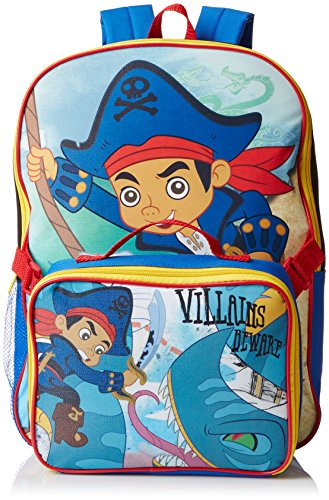 Disney Boys' Jake The Pirate Backpack with Lunch Kit, Multi, One -
