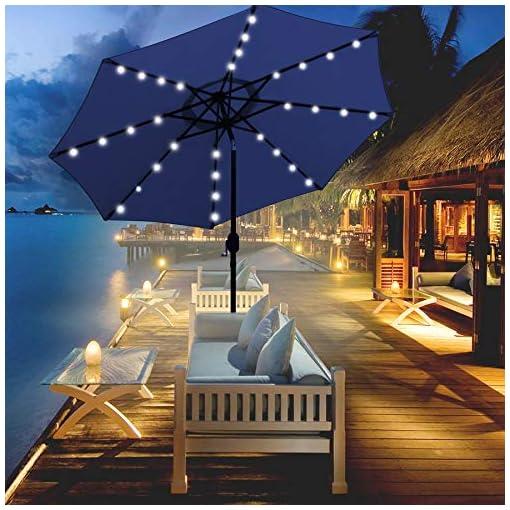 Garden and Outdoor Blissun 9 ft Solar Umbrella 32 LED Lighted Patio Umbrella Table Market Umbrella with Tilt and Crank Outdoor Umbrella for… patio umbrellas
