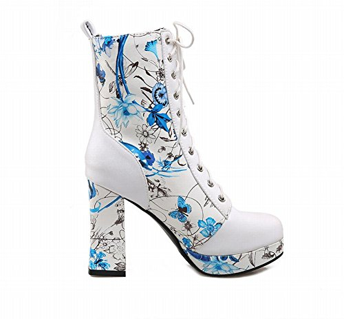 Carolbar Vrouwen Lace-up Mode Bloemenprint Charmes Platform Hoge Hak Korte Jurk Laarzen Blauw